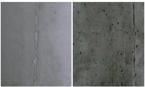 Бетонная поверхность с использованием смазки и без нее